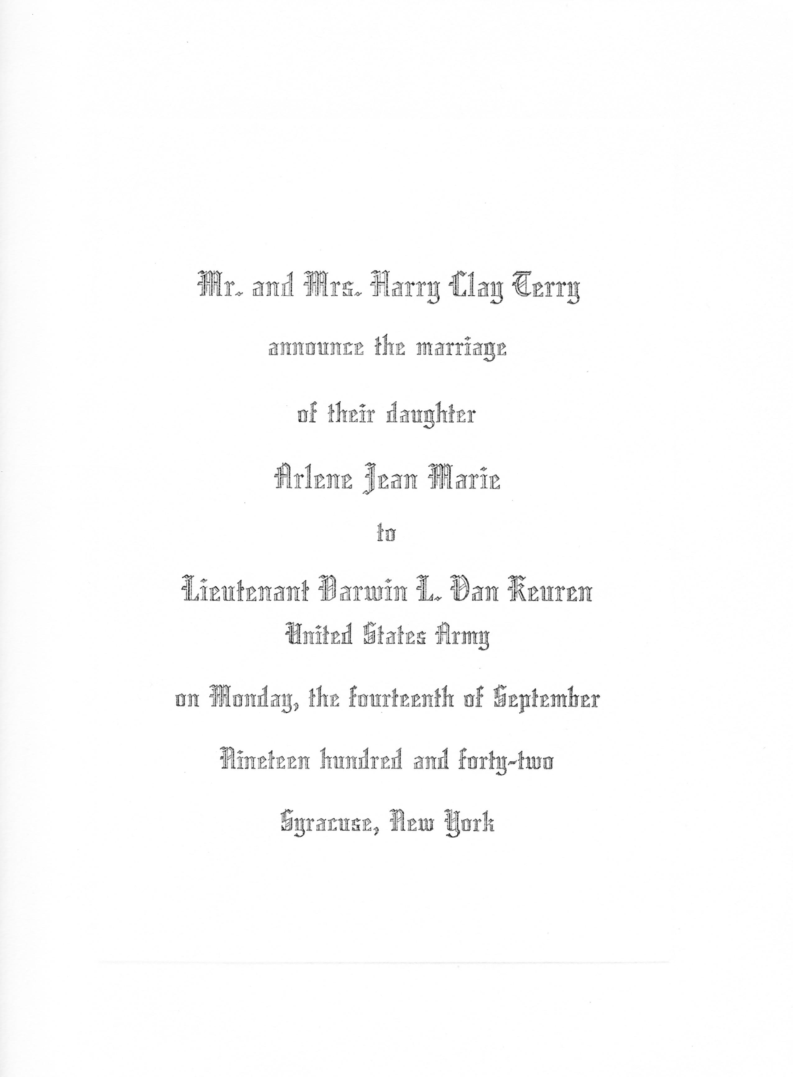 wedding invitation from 1942